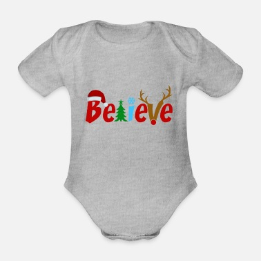 Christmassy Christmassy typography - Organic Short-Sleeved Baby Bodysuit