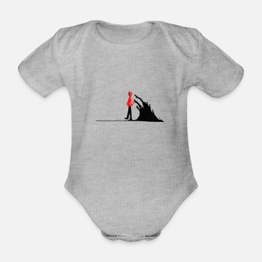 Dark Wave Man walking from the black waves of darkness - Organic Short-Sleeved Baby Bodysuit