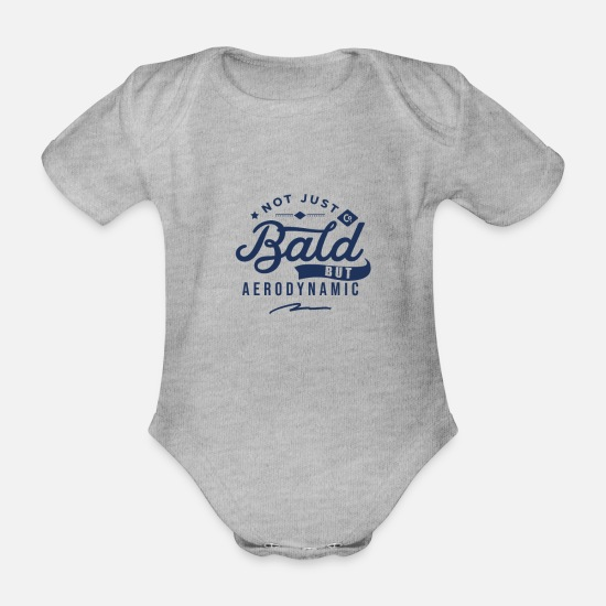 Husband Baby Clothes - Balding No hair Baldy Bald No hair - Organic Short-Sleeved Baby Bodysuit heather grey