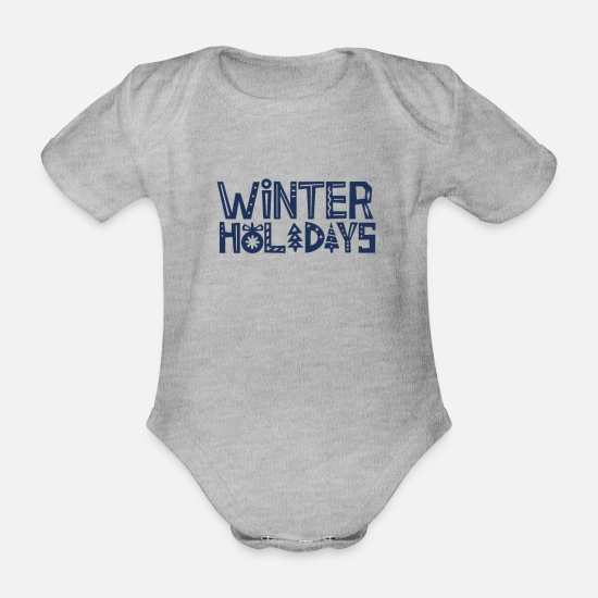 Travel Baby Clothes - Team Holidays Winter Holidays Winter Holidays Ski Holidays - Organic Short-Sleeved Baby Bodysuit heather grey
