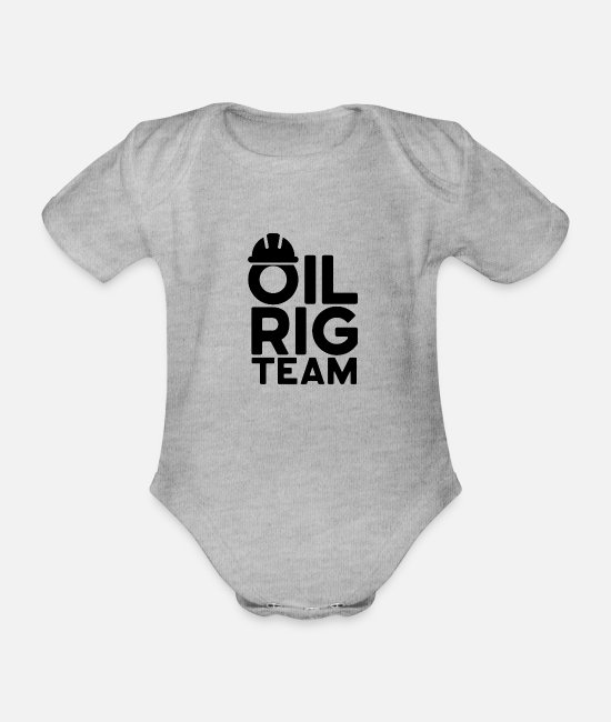 Ghastly Baby Bodysuits - Oil rig team occupation offshore drilling platform - Organic Short-Sleeved Baby Bodysuit heather grey