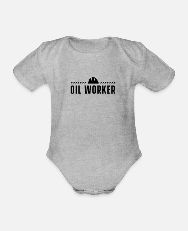 Ghastly Baby Bodysuits - Oil workers offshore drilling platform oil rig - Organic Short-Sleeved Baby Bodysuit heather grey