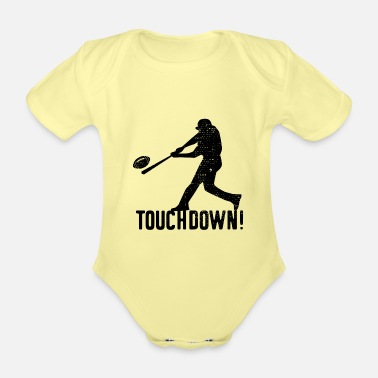 Pitch Baseball Touchdown Funny Humor - Organic Short-Sleeved Baby Bodysuit