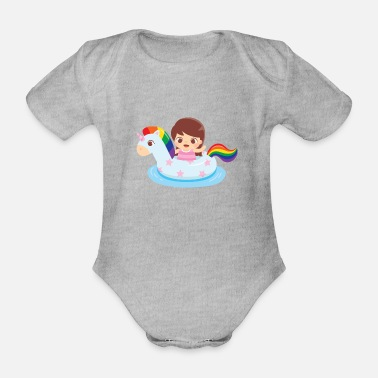 Swimming Mane Cute Girl in Unicorn Float - Organic Short-Sleeved Baby Bodysuit