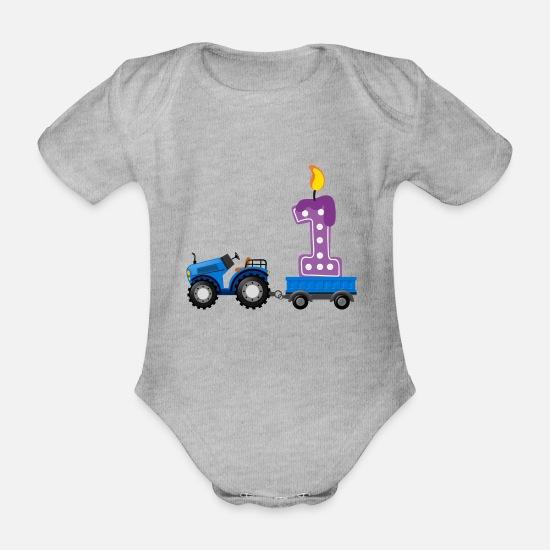 03eb0ce9 Mummy Babyklær - Første bursdag - traktor - Økologisk kortermet babybody  gråmelert