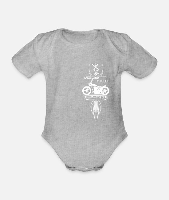 Vertical Baby Bodysuits - Angeland Thrills + Vertical Twin (B) - White - Organic Short-Sleeved Baby Bodysuit heather grey