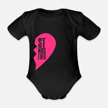 Best Friends best friends forever right heart side - Organic Short-sleeved Baby Bodysuit