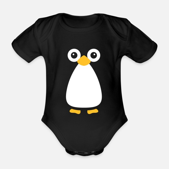 Christmas Baby Clothes - Cute Vector Penguin - Organic Short-Sleeved Baby Bodysuit black