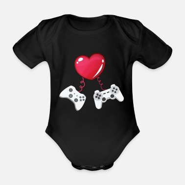 Retro Gaming Gaming combines gaming with love - Organic Short-sleeved Baby Bodysuit