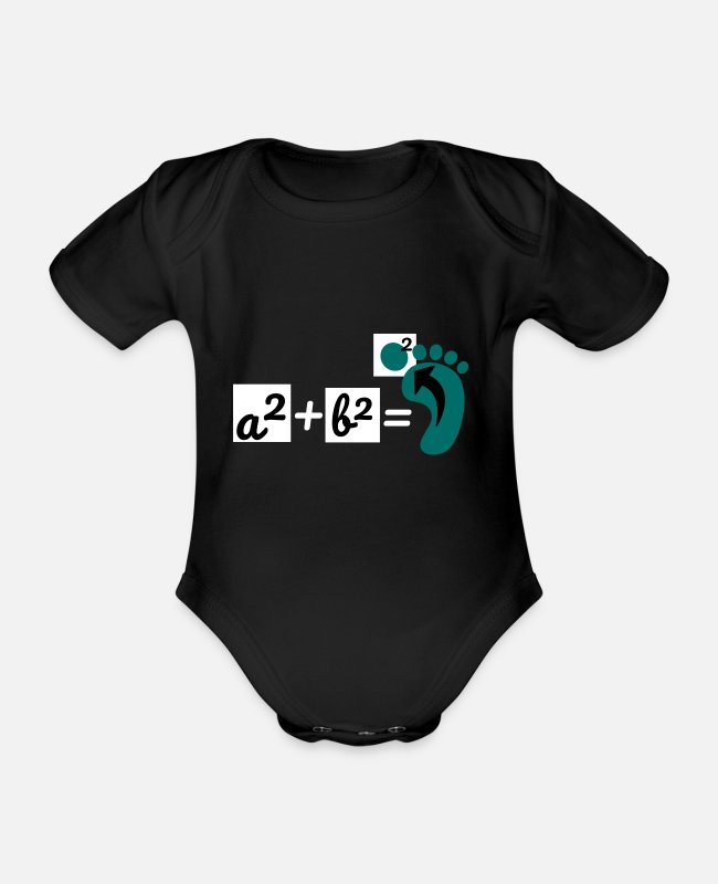 Maths Teacher Baby Bodysuits - Math set of Pythagoras teacher mathematics - Organic Short-Sleeved Baby Bodysuit black
