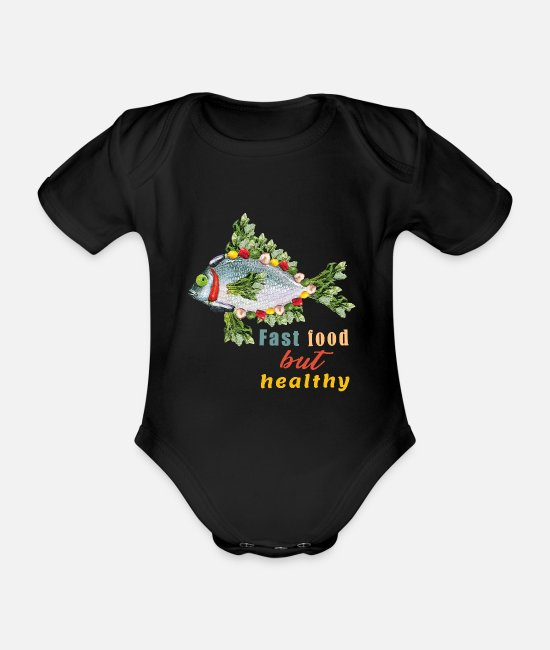 Shrovetide Baby Bodysuits - Fast food Fast food Healthy fish diet - Organic Short-Sleeved Baby Bodysuit black