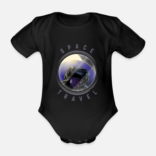 Travel Baby Clothes - Space Travel Astronaut Cool Gift - Organic Short-Sleeved Baby Bodysuit black