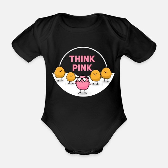Niedlich Babykleidung - think pink - be different cute chicken - Baby Bio Kurzarmbody Schwarz