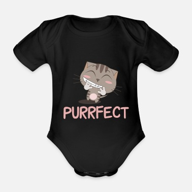 Cat Purrfect Cat Cartoon Cats Comic Kitty Meow Meow - Organic Short-Sleeved Baby Bodysuit