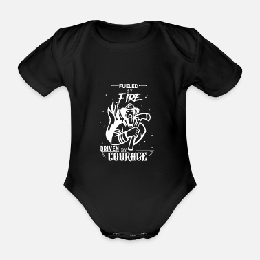 Fueled with fire with courage - Organic Short-Sleeved Baby Bodysuit
