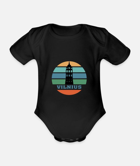 Mediterranean Baby Bodysuits - Vilnius City Skyline Lithuania Landmark - Organic Short-Sleeved Baby Bodysuit black
