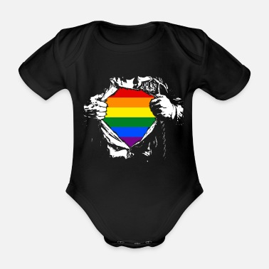 Rainbow Gay Pride - Supergay - Organic Short-Sleeved Baby Bodysuit