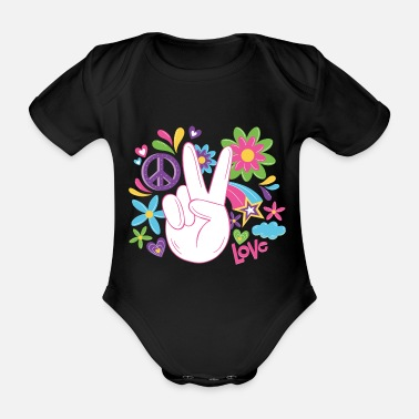 Flower Power Peace World Peace Flower Power Gift 70s Love - Organic Short-Sleeved Baby Bodysuit