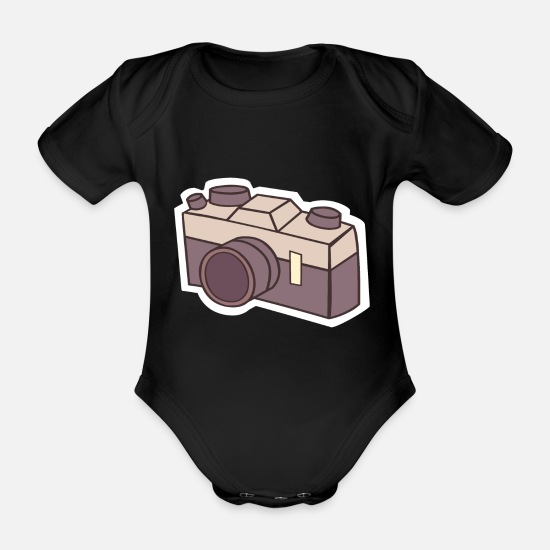 Image Baby Clothes - Camera camera - Organic Short-Sleeved Baby Bodysuit black