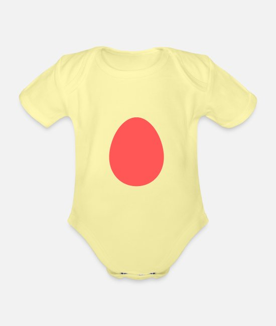 Easter Baby Clothes - Easter egg - Organic Short-Sleeved Baby Bodysuit washed yellow