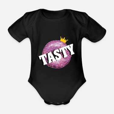 Tasty donut crown - Organic Short-Sleeved Baby Bodysuit