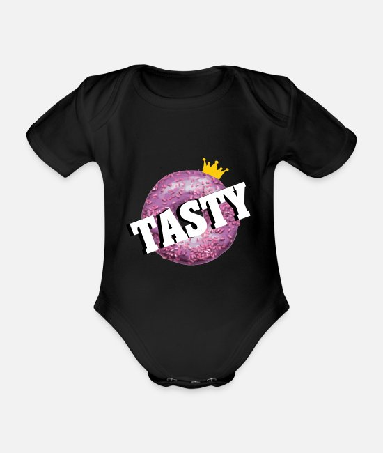 Crown Baby Clothes - Tasty donut crown - Organic Short-Sleeved Baby Bodysuit black