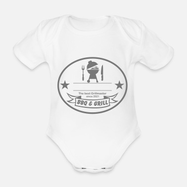Grilling BBQ - Write your text or name - Organic Short-Sleeved Baby Bodysuit