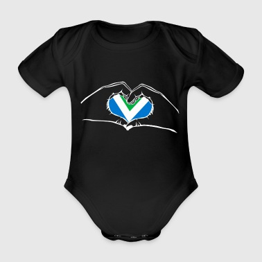 I love vegan - heart - hand - Organic Short-sleeved Baby Bodysuit
