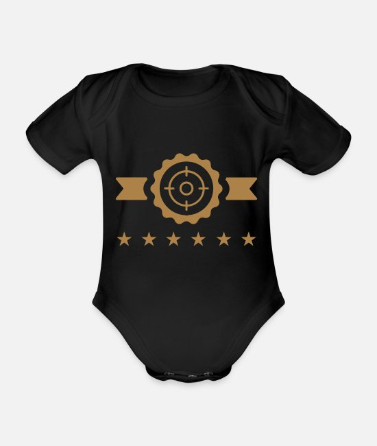 Nature Baby Bodysuits - Game Keeper Hunting Wildhüter Garde Chasse - Organic Short-Sleeved Baby Bodysuit black