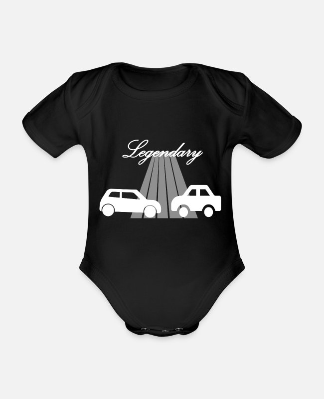 Speed Baby Bodysuits - Car car - Organic Short-Sleeved Baby Bodysuit black