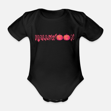 Horror Halloween in red with pumpkins - Organic Short-sleeved Baby Bodysuit