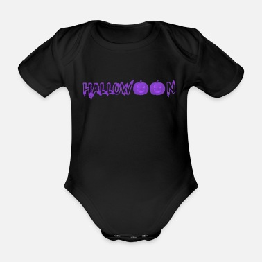 Monster Halloween pumpkins face scary spooky - Organic Short-sleeved Baby Bodysuit