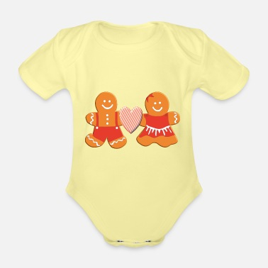 Gingerbread Man Gingerbread man and gingerbread woman in love - Organic Short-Sleeved Baby Bodysuit