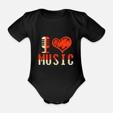 Sound System Music musician headphones gift idea - Organic Short-sleeved Baby Bodysuit