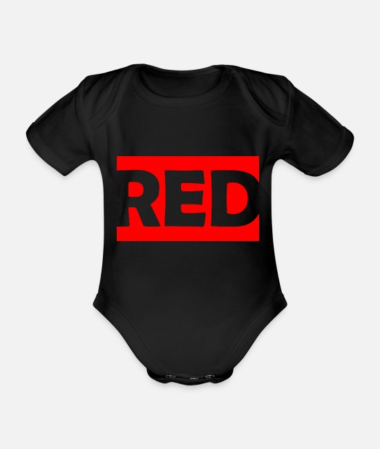 Pattern Baby Bodysuits - Red / red / color - Organic Short-Sleeved Baby Bodysuit black