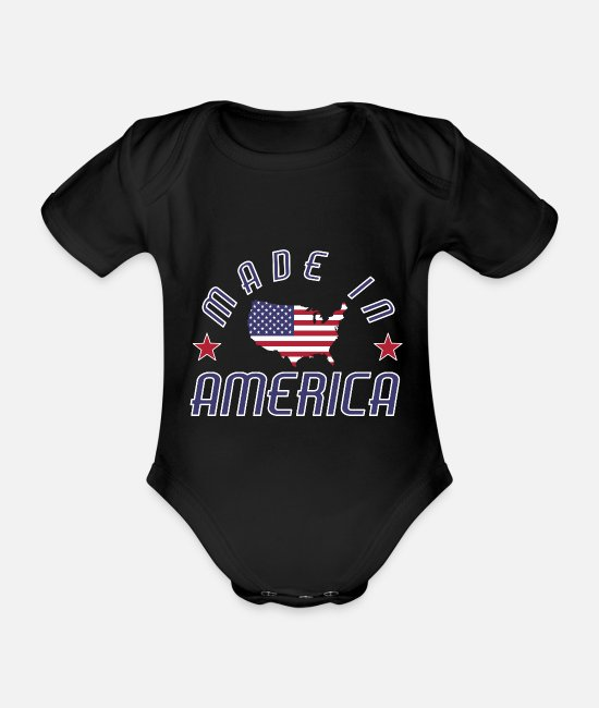 Continent Baby Clothes - Made in USA America Stars and Stripes - Organic Short-Sleeved Baby Bodysuit black
