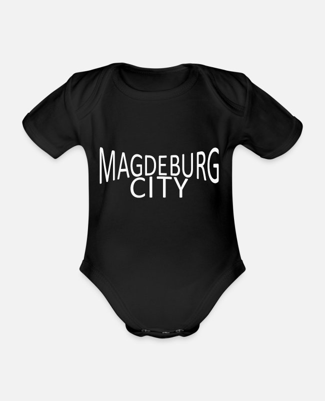 New German States Baby Bodysuits - Magdeburg - Organic Short-Sleeved Baby Bodysuit black