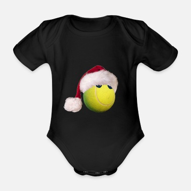 Tennis ball with Christmas cap gift Merry X-Mas - Organic Short-Sleeved Baby Bodysuit