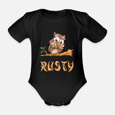 Rusty Owl Rusty - Organic Short-Sleeved Baby Bodysuit