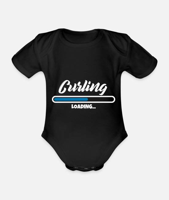 Ice Sports Baby Clothes - Curling loading please wait - Organic Short-Sleeved Baby Bodysuit black