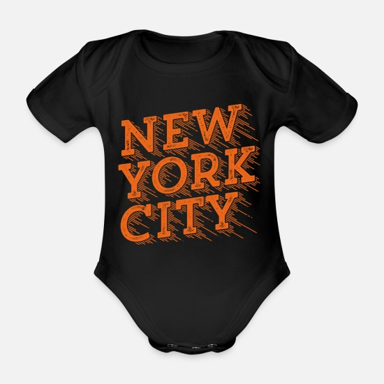 Typo Collection V2 Baby Clothes - New York City Geniale - Organic Short-Sleeved Baby Bodysuit black