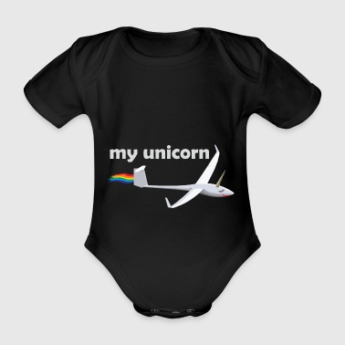 unicorn glider fly gift unicorn - Organic Short-sleeved Baby Bodysuit