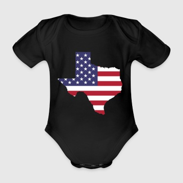 US Bundesstaat Texas mit US Flagge - Baby Bio-Kurzarm-Body
