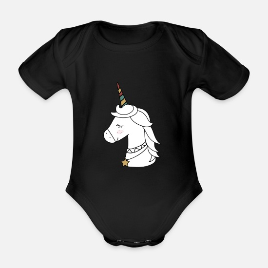 Snowman Baby Clothes - Christmas unicorn is looking for new friend - Organic Short-Sleeved Baby Bodysuit black