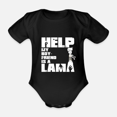 Splatter My Boyfriend is a Lama white - Organic Short-sleeved Baby Bodysuit
