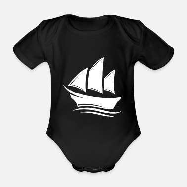 Party Segelboot Segelfahren Boot 4 white - Baby Bio-Kurzarm-Body