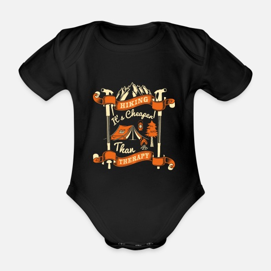 Birthday Baby Clothes - Hiking Its's Cheaper than therapy - Organic Short-Sleeved Baby Bodysuit black