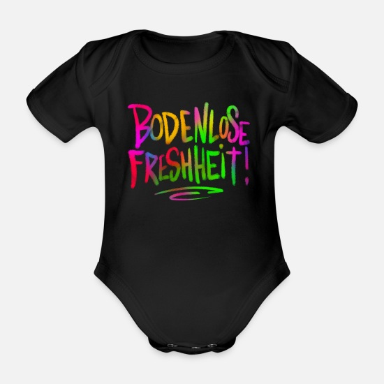 Pun Baby Clothes - Bottomless freshness - Organic Short-Sleeved Baby Bodysuit black