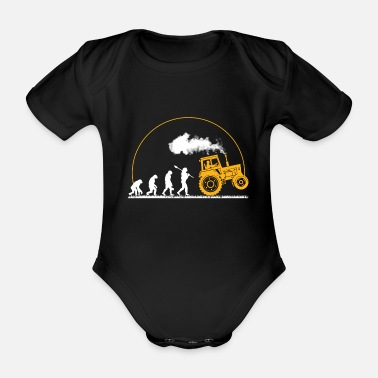 Field Hockey Tractor Shirt · Agriculture · Tractor Evolution - Organic Short-sleeved Baby Bodysuit