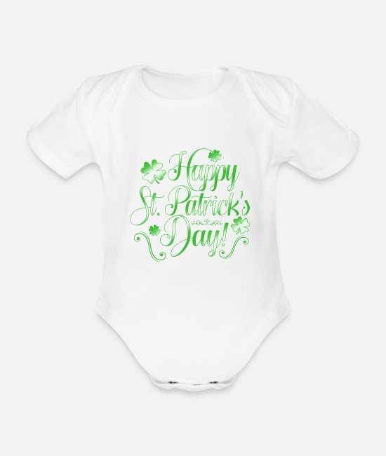 Clover Baby Clothes - Happy St Patrick's Day St Paddy's Shamrock - Organic Short-Sleeved Baby Bodysuit white